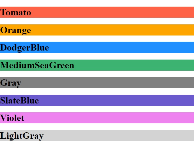 HTML Colors- Color Names
